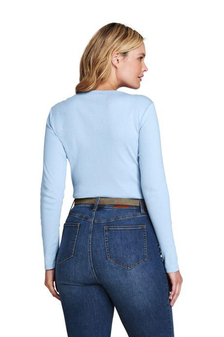 Women's Plus Size All Cotton Long Sleeve T-Shirt - Rib Knit Crewneck