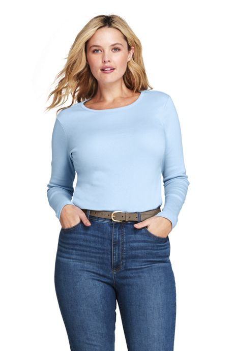 Women's Plus Size Shaped Long Sleeve T-shirt Cotton Crewneck