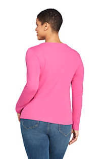 Women's Plus Size All Cotton Long Sleeve Crewneck T-Shirt, Back