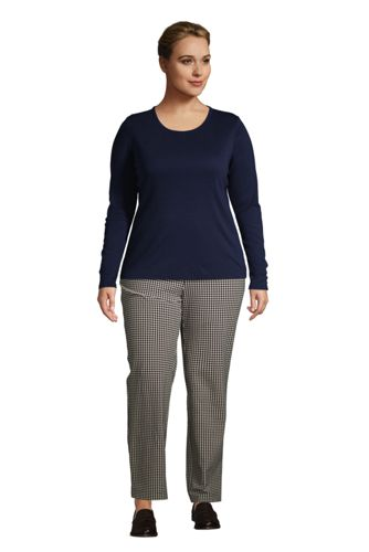 Women's Plus Size All Cotton Long Sleeve Crewneck T-Shirt
