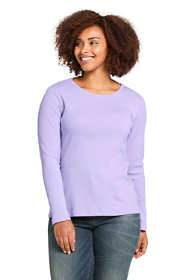 Women's Plus Size All Cotton Long Sleeve T-Shirt - Rib Knit Crewneck