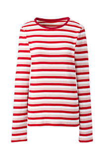 Women's Plus Size Long Sleeve All Cotton Crewneck T-shirt Stripe, Front