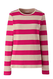 Women's Plus Size Petite Long Sleeve All Cotton Crewneck T-shirt Stripe, Front