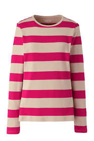 Women's Long Sleeve All Cotton Crewneck T-shirt Stripe