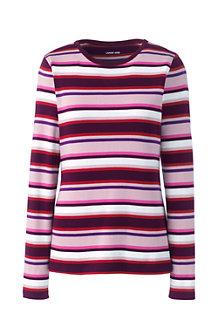Women's Long Sleeve Stripe Cotton Rib Crew Neck T-shirt