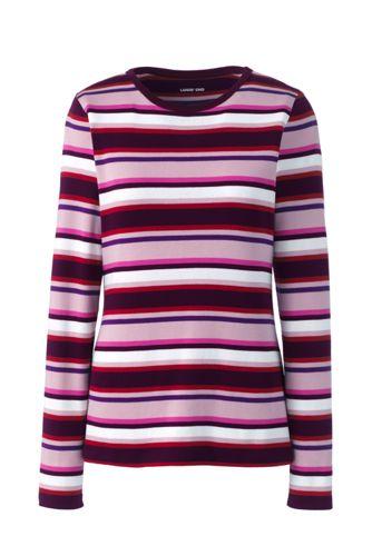 Women's Regular Long Sleeve Stripe Cotton Rib Crew Neck T-shirt