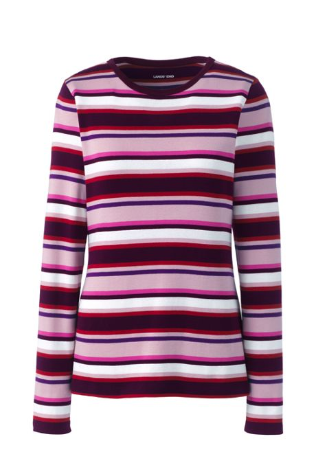 Women's Plus Size Long Sleeve All Cotton Crewneck T-shirt Stripe