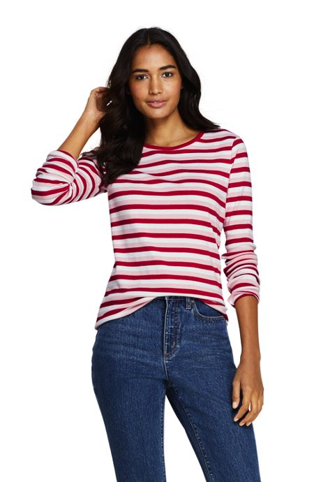 Women's Tall All Cotton Long Sleeve T-Shirt - Rib Knit Crewneck Stripe