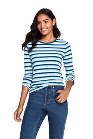 Women's All Cotton Long Sleeve T-Shirt - Rib Knit Crewneck Stripe