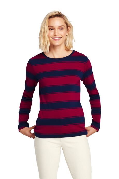 Women's Petite All Cotton Long Sleeve T-Shirt - Rib Knit Crewneck Stripe