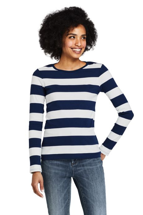 Women's Tall Long Sleeve All Cotton Crewneck T-shirt Stripe