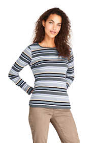 Women's Petite Long Sleeve All Cotton Crewneck T-shirt Stripe