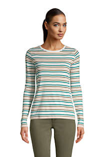 Women's Tall Long Sleeve All Cotton Crewneck T-shirt Stripe, Front