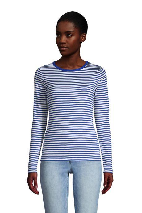 Women's Petite Long Sleeve All Cotton Crewneck T-shirt Stripe
