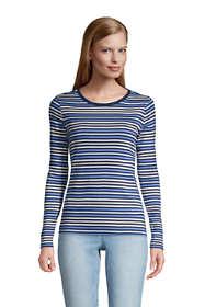 Women's Tall Long Sleeve All Cotton Crewneck T-shirt Stripe