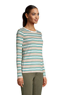 Women's Tall Long Sleeve All Cotton Crewneck T-shirt Stripe, alternative image