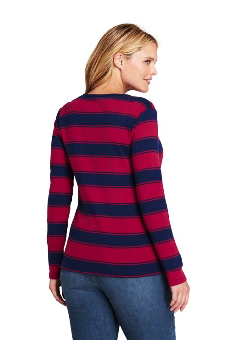 Women's Plus Size All Cotton Long Sleeve T-Shirt - Rib Knit Crewneck Stripe