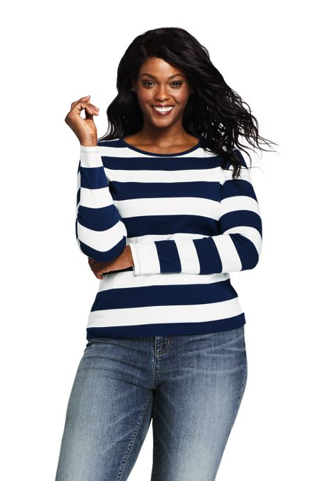 Women's Plus Size Petite Long Sleeve All Cotton Crewneck T-shirt Stripe