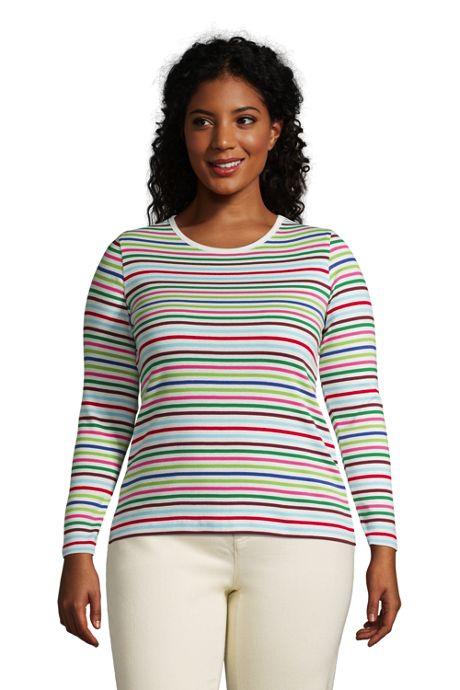 Women's Plus Size Long Sleeve All Cotton Crewneck T-shirt Stripe