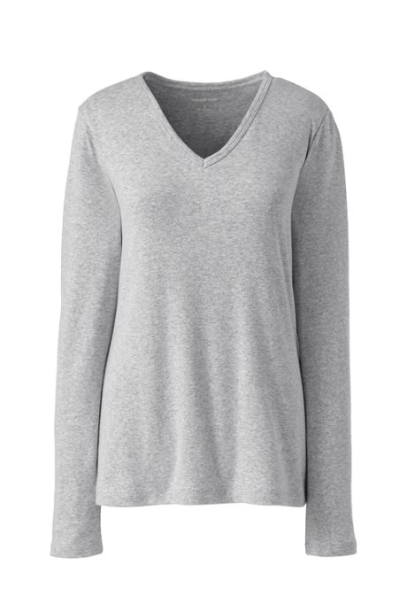 Women's's Petite All Cotton Long Sleeve V-neck T-Shirt