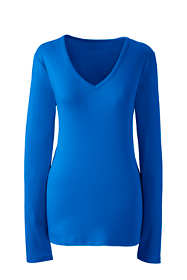Women's All Cotton Long Sleeve T-Shirt Rib Knit V-Neck