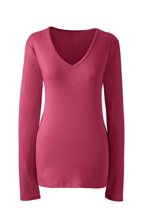 Women's Shaped Long Sleeve T-shirt Cotton V-neck