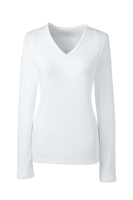 Women's Petite All Cotton Long Sleeve V-neck T-Shirt