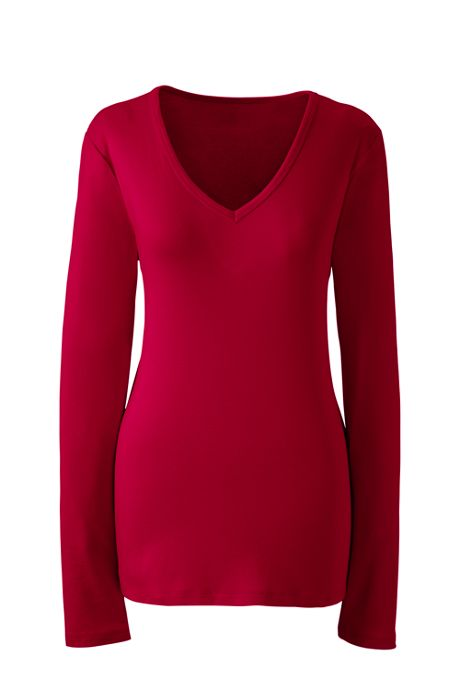 Women's Tall All Cotton Long Sleeve T-Shirt Rib Knit V-Neck