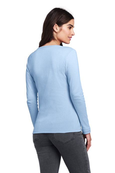 Women's Petite Shaped Long Sleeve T-shirt Cotton V-neck