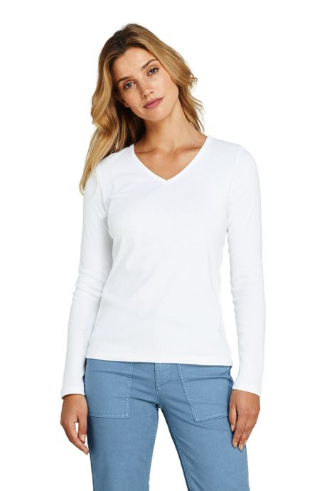 Women's All Cotton Long Sleeve V-neck T-Shirt