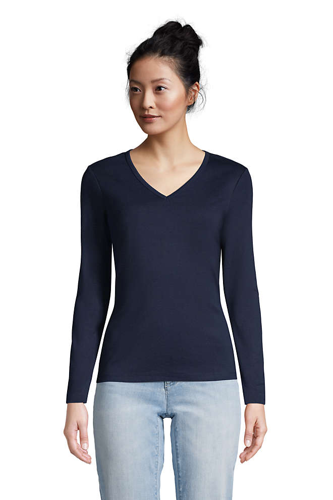 Women's All Cotton Long Sleeve V-neck T-Shirt , Front