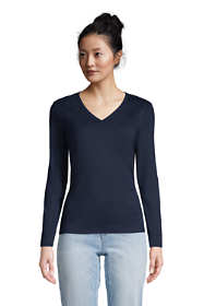 Women's Tall All Cotton Long Sleeve V-neck T-Shirt