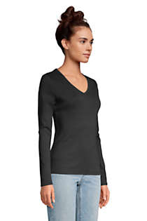 Women's All Cotton Long Sleeve V-neck T-Shirt , Unknown