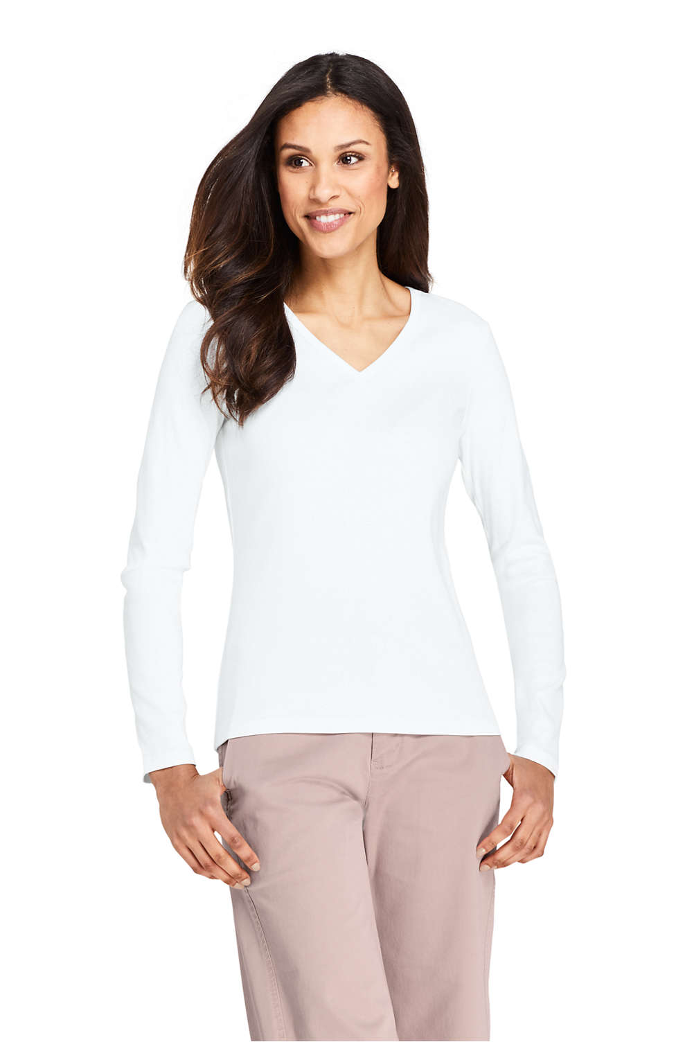 Women s All Cotton Long Sleeve T-Shirt Rib Knit V-Neck from Lands  End 80ca8074b