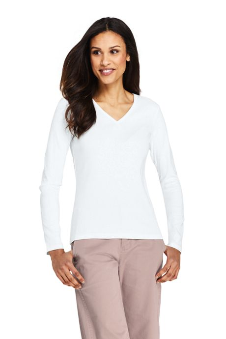 Women's Petite All Cotton Long Sleeve T-Shirt Rib Knit V-Neck