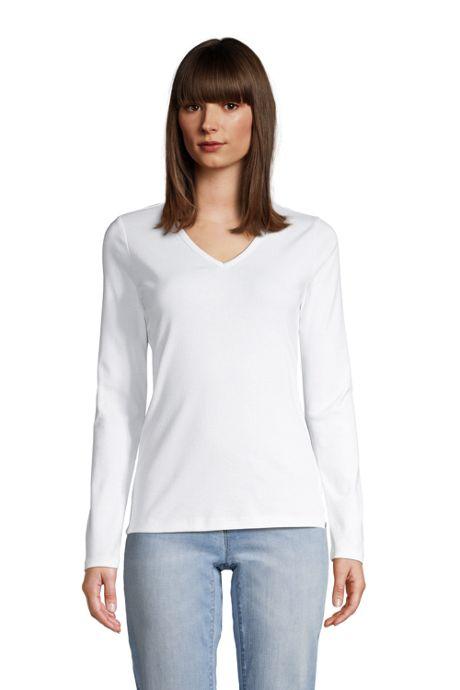 Women's Petite All Cotton Long Sleeve V-neck T-Shirt