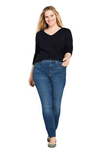 Women's Plus Size All Cotton Long Sleeve V-neck T-Shirt , Unknown