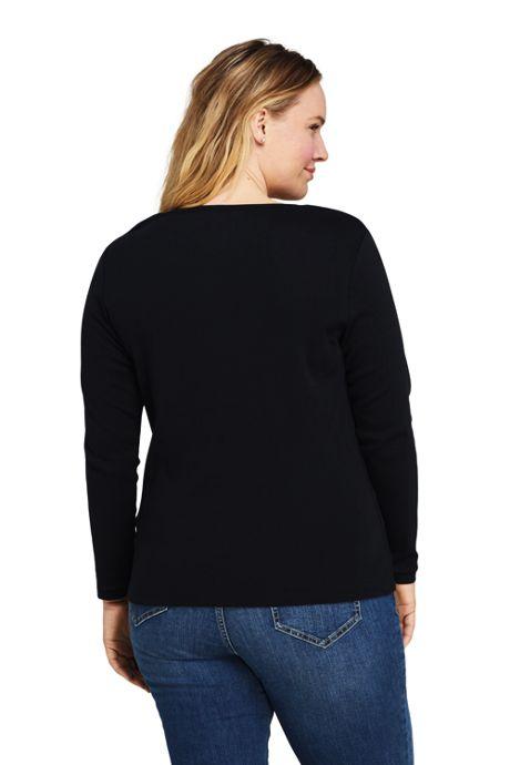 Women's Plus Size All Cotton Long Sleeve V-neck T-Shirt