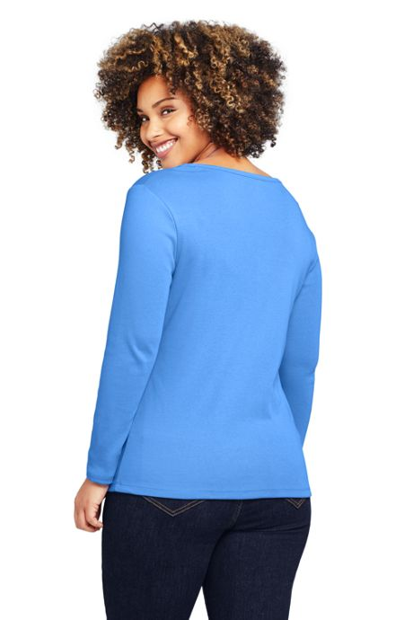 Women's Plus Size All Cotton Long Sleeve V-neck T-Shirt