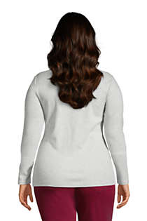 Women's Plus Size All Cotton Long Sleeve V-neck T-Shirt , Back