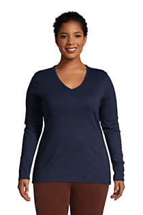 Women's Plus Size All Cotton Long Sleeve V-neck T-Shirt , Front