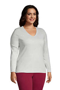 Women's Plus Size All Cotton Long Sleeve V-neck T-Shirt , alternative image