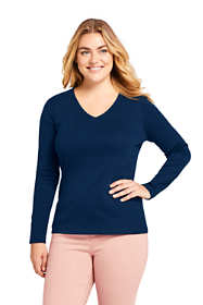 Women's Plus Size All Cotton Long Sleeve T-Shirt Rib Knit V-Neck