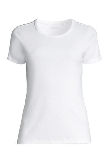 Women's Short Sleeve Shaped 1x1 Rib Crew