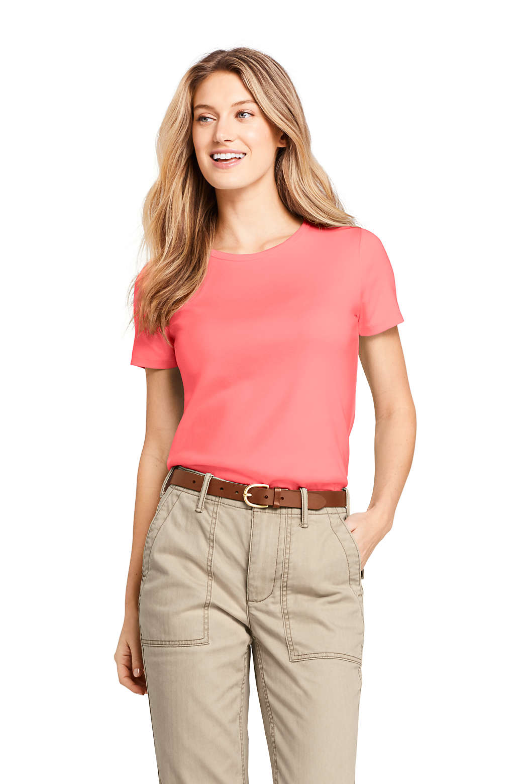 d6ba0a1c4 Women s Shaped Cotton Crewneck T-shirt from Lands  End