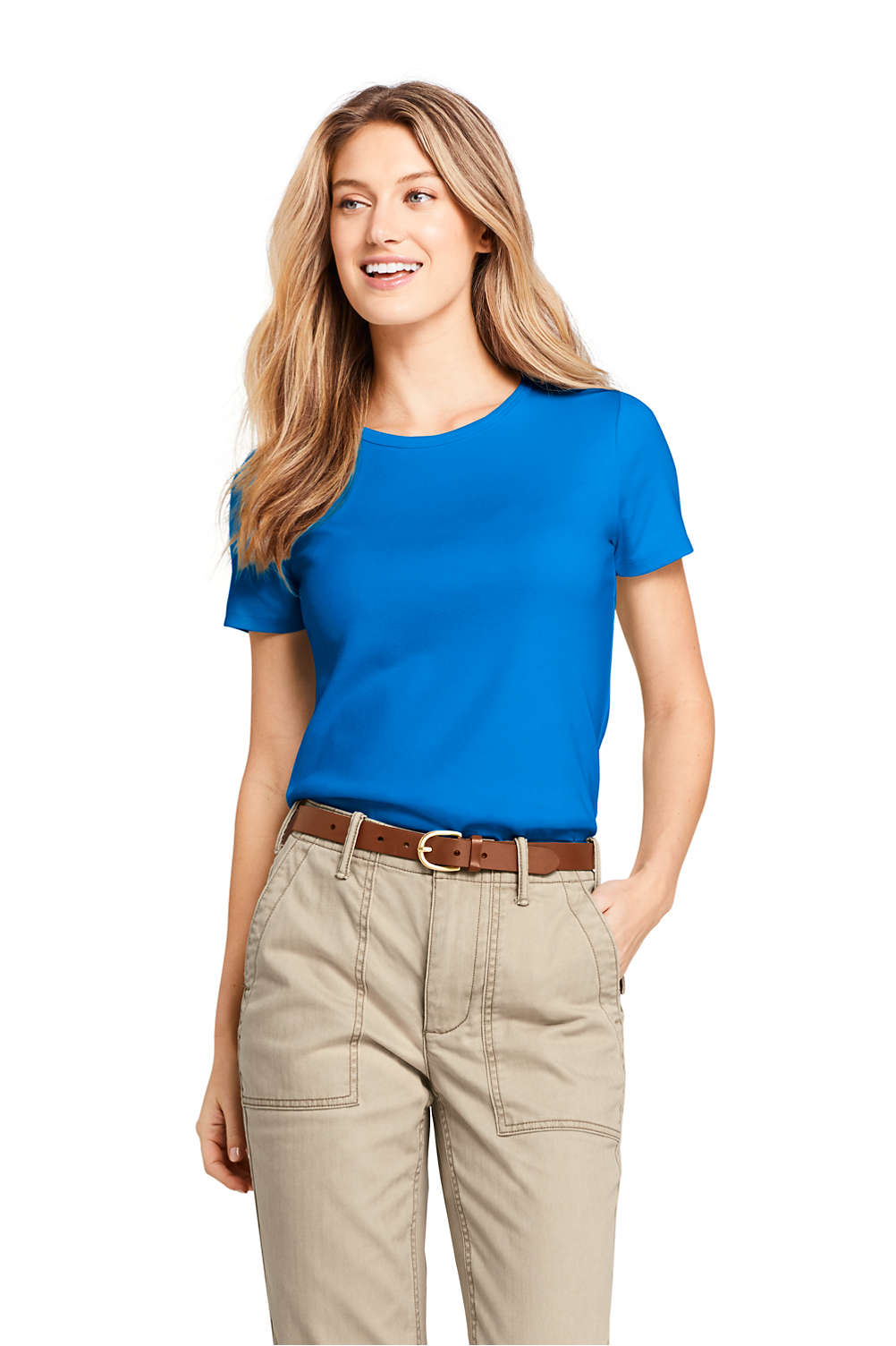 Womens Shaped Cotton Crewneck T Shirt From Lands End