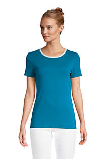 Women's Petite All Cotton Short Sleeve Crewneck T-shirt, Front