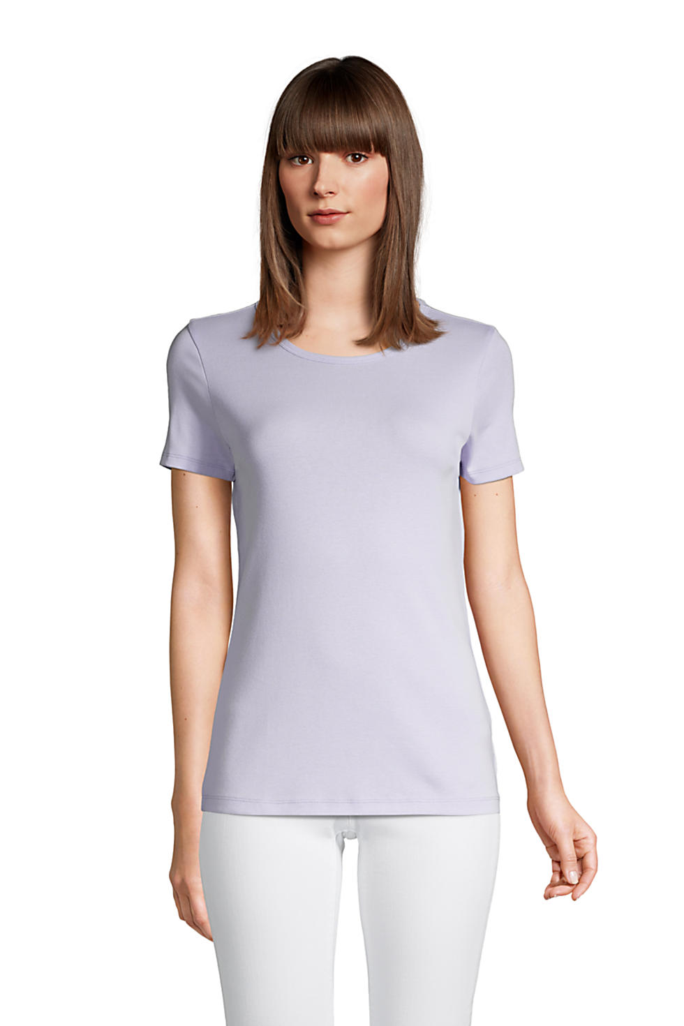 Lands End Women's All Cotton Short Sleeve Crewneck T-shirt