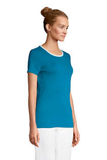Women's Petite All Cotton Short Sleeve Crewneck T-shirt, alternative image