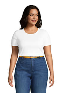 Women's Plus Size Petite All Cotton Short Sleeve Crewneck T-Shirt, alternative image